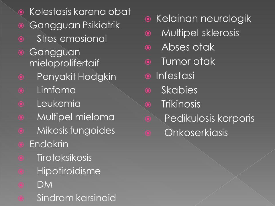  Kolestasis karena obat  Gangguan Psikiatrik  Stres emosional  Gangguan mieloprolifertaif  Penyakit Hodgkin  Limfoma  Leukemia  Multipel mieloma  Mikosis fungoides  Endokrin  Tirotoksikosis  Hipotiroidisme  DM  Sindrom karsinoid  Kelainan neurologik  Multipel sklerosis  Abses otak  Tumor otak  Infestasi  Skabies  Trikinosis  Pedikulosis korporis  Onkoserkiasis