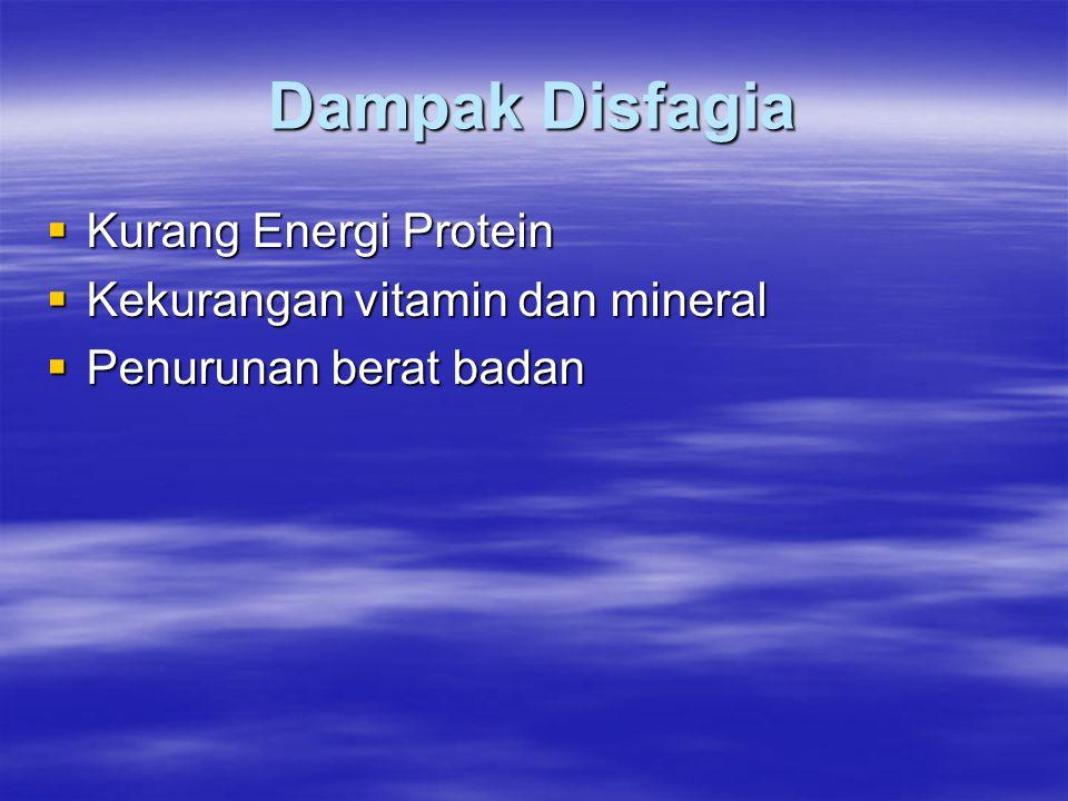 Dampak Disfagia  Kurang Energi Protein  Kekurangan vitamin dan mineral  Penurunan berat badan
