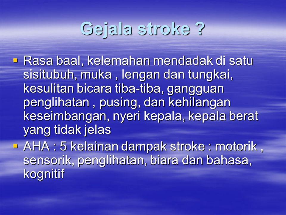 Gejala stroke ?  Rasa baal, kelemahan mendadak di satu sisitubuh, muka, lengan dan tungkai, kesulitan bicara tiba-tiba, gangguan penglihatan, pusing,