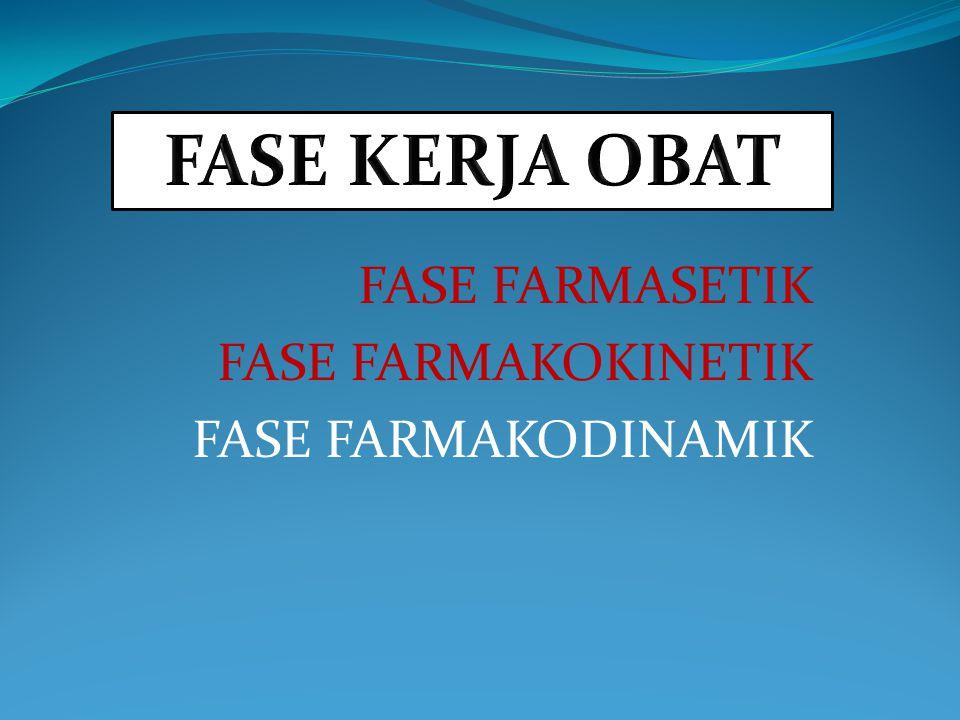 FASE FARMASETIK FASE FARMAKOKINETIK FASE FARMAKODINAMIK