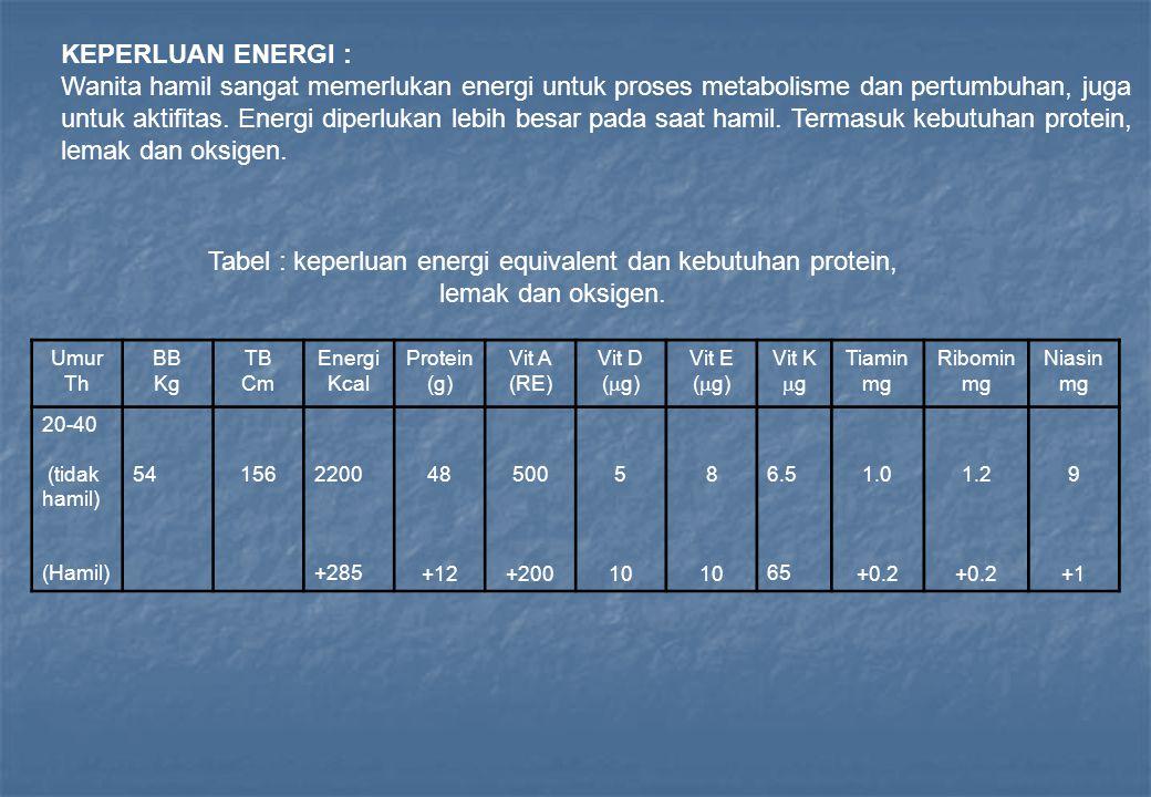 KEPERLUAN ENERGI : Wanita hamil sangat memerlukan energi untuk proses metabolisme dan pertumbuhan, juga untuk aktifitas. Energi diperlukan lebih besar