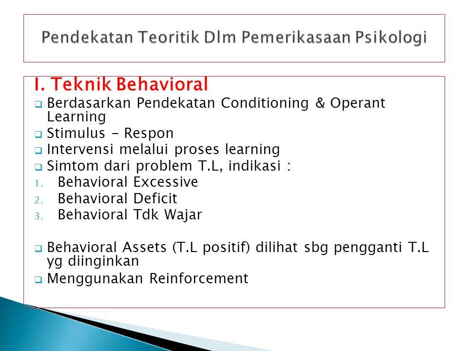I. Teknik Behavioral  Berdasarkan Pendekatan Conditioning & Operant Learning  Stimulus - Respon  Intervensi melalui proses learning  Simtom dari p