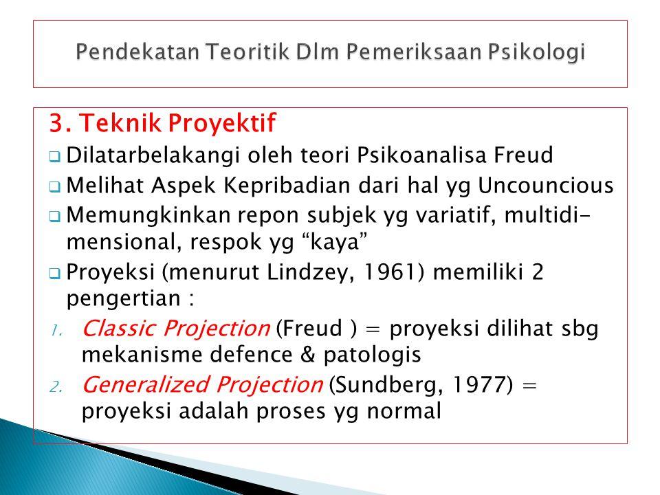 3. Teknik Proyektif  Dilatarbelakangi oleh teori Psikoanalisa Freud  Melihat Aspek Kepribadian dari hal yg Uncouncious  Memungkinkan repon subjek y