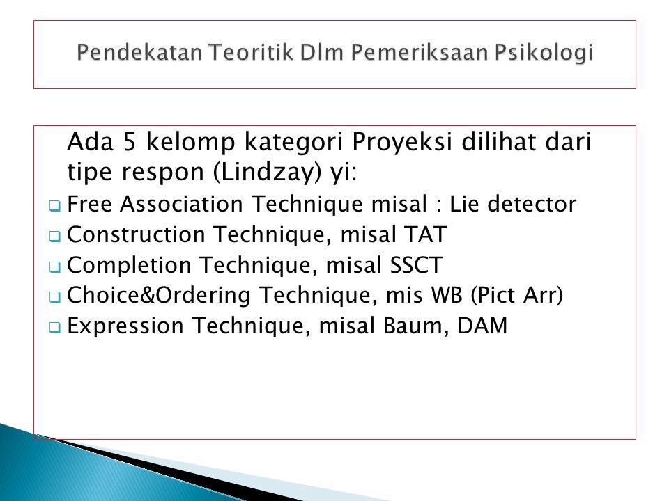 Ada 5 kelomp kategori Proyeksi dilihat dari tipe respon (Lindzay) yi:  Free Association Technique misal : Lie detector  Construction Technique, misal TAT  Completion Technique, misal SSCT  Choice&Ordering Technique, mis WB (Pict Arr)  Expression Technique, misal Baum, DAM