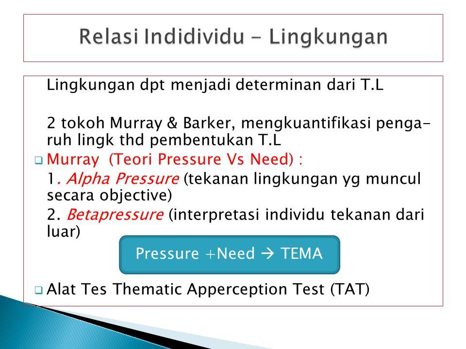 Lingkungan dpt menjadi determinan dari T.L 2 tokoh Murray & Barker, mengkuantifikasi penga- ruh lingk thd pembentukan T.L  Murray (Teori Pressure Vs Need) : 1.