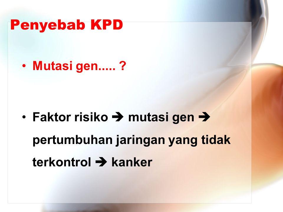 Penyebab KPD Mutasi gen..... ? Faktor risiko  mutasi gen  pertumbuhan jaringan yang tidak terkontrol  kanker