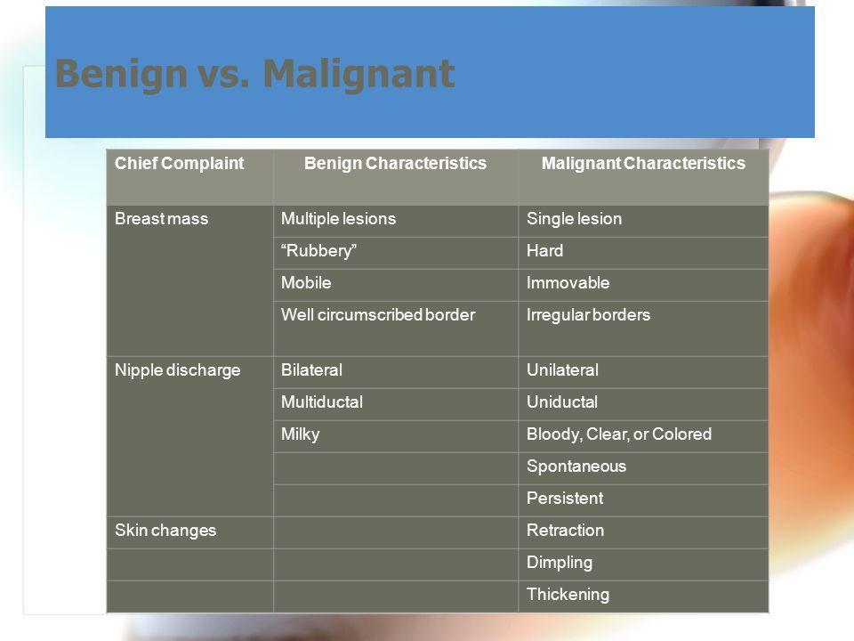"""Benign vs. Malignant Chief ComplaintBenign CharacteristicsMalignant Characteristics Breast massMultiple lesionsSingle lesion """"Rubbery""""Hard MobileImmov"""