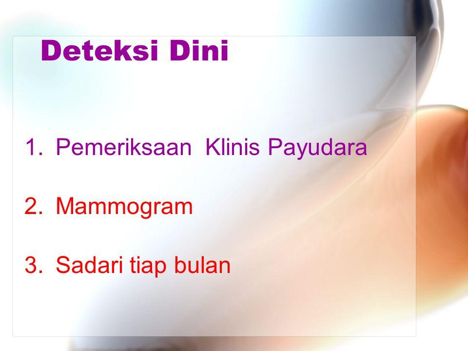 Deteksi Dini 1.Pemeriksaan Klinis Payudara 2.Mammogram 3.Sadari tiap bulan