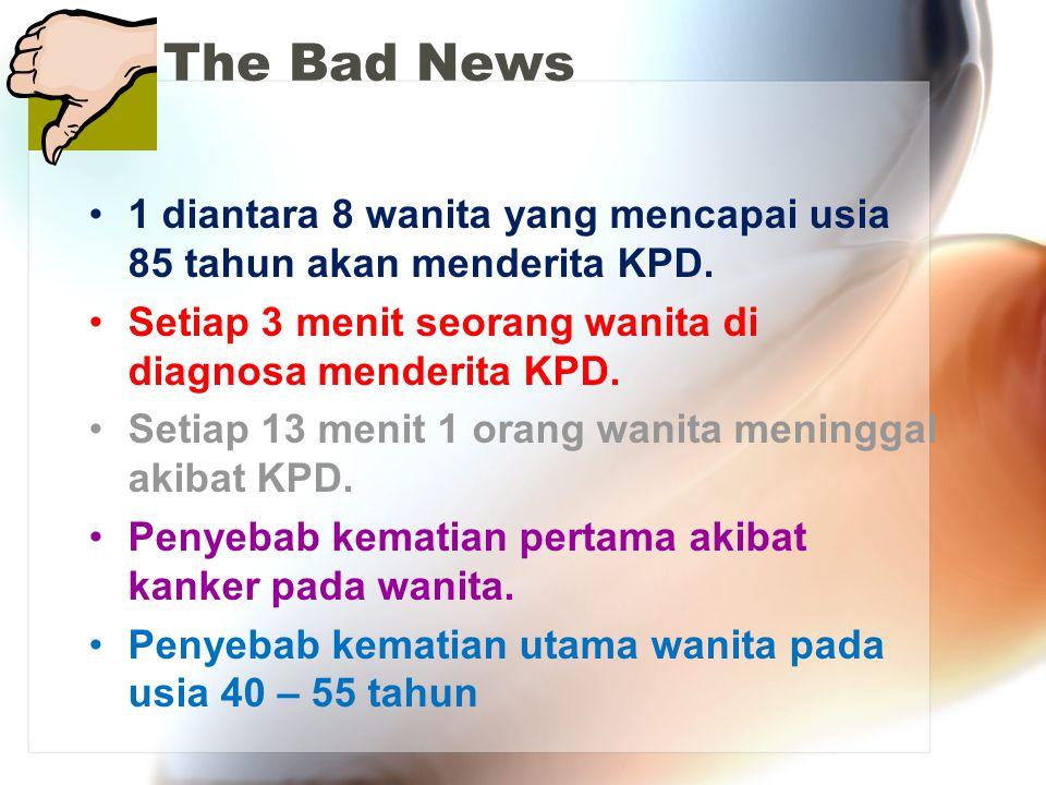 The Bad News 1 diantara 8 wanita yang mencapai usia 85 tahun akan menderita KPD. Setiap 3 menit seorang wanita di diagnosa menderita KPD. Setiap 13 me