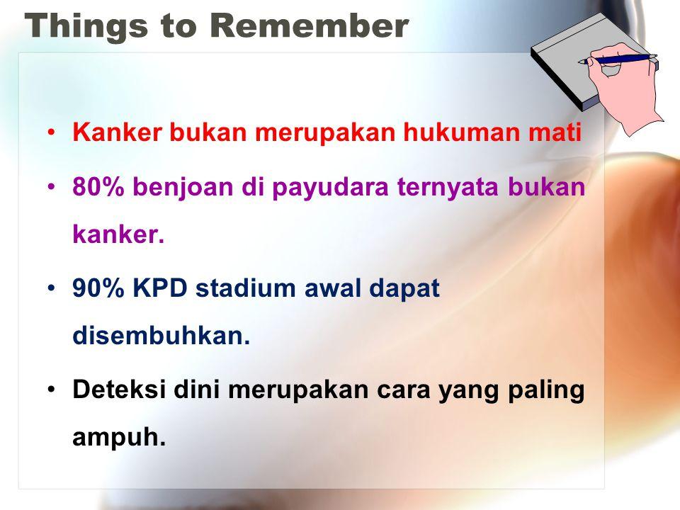 Things to Remember Kanker bukan merupakan hukuman mati 80% benjoan di payudara ternyata bukan kanker. 90% KPD stadium awal dapat disembuhkan. Deteksi
