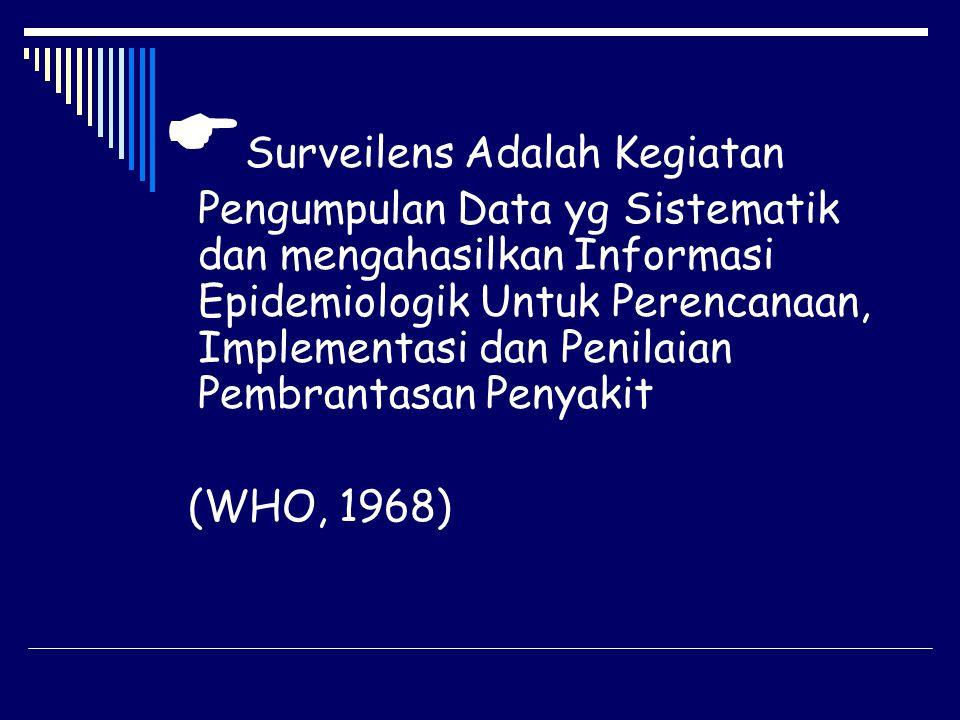  Surveilens Adalah Kegiatan Pengumpulan Data yg Sistematik dan mengahasilkan Informasi Epidemiologik Untuk Perencanaan, Implementasi dan Penilaian Pe