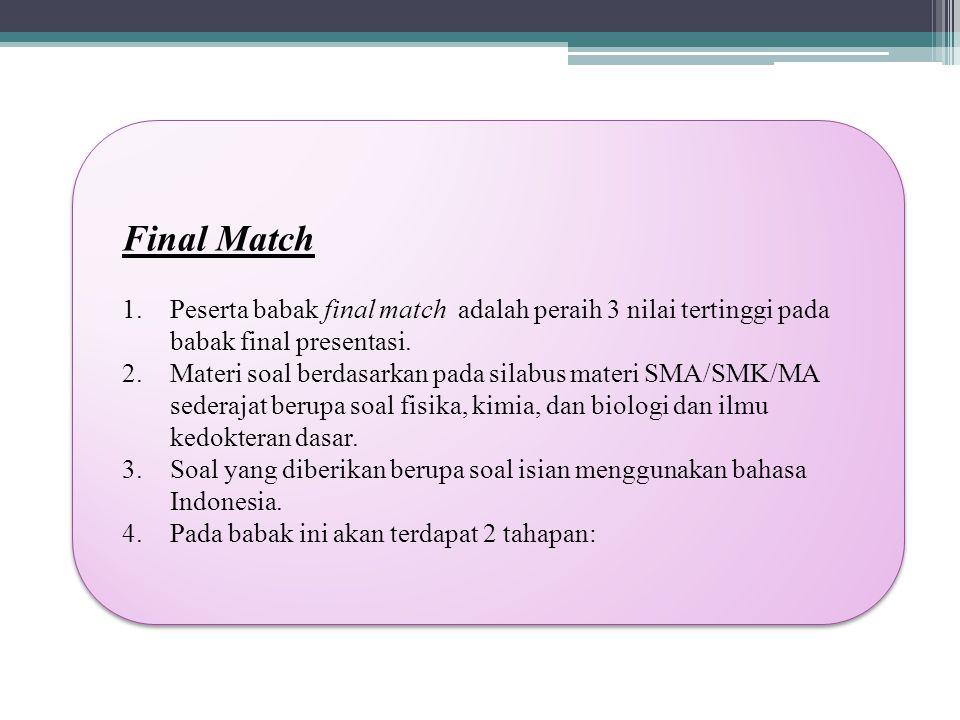 Final Match 1.Peserta babak final match adalah peraih 3 nilai tertinggi pada babak final presentasi.