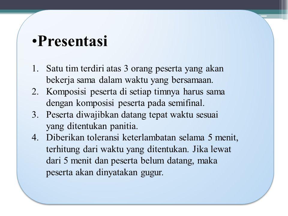 Presentasi 1.Satu tim terdiri atas 3 orang peserta yang akan bekerja sama dalam waktu yang bersamaan.