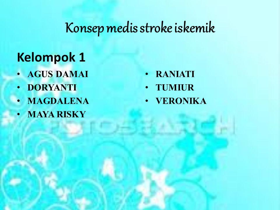 PENGERTIAN Stroke Iskemik (penyumbatan pembuluh darah) adalah stroke yang terjadi apabila salah satu cabang dari pembuluh darah otak mengalami penyumbatan, sehingga bagian otak yang seharusnya mendapat suplai darah dari cabang pembuluh darah tersebut, akan mati karena tidak mendapatkan suplai oksigen dan aliran darah sebagaimana seharusnya