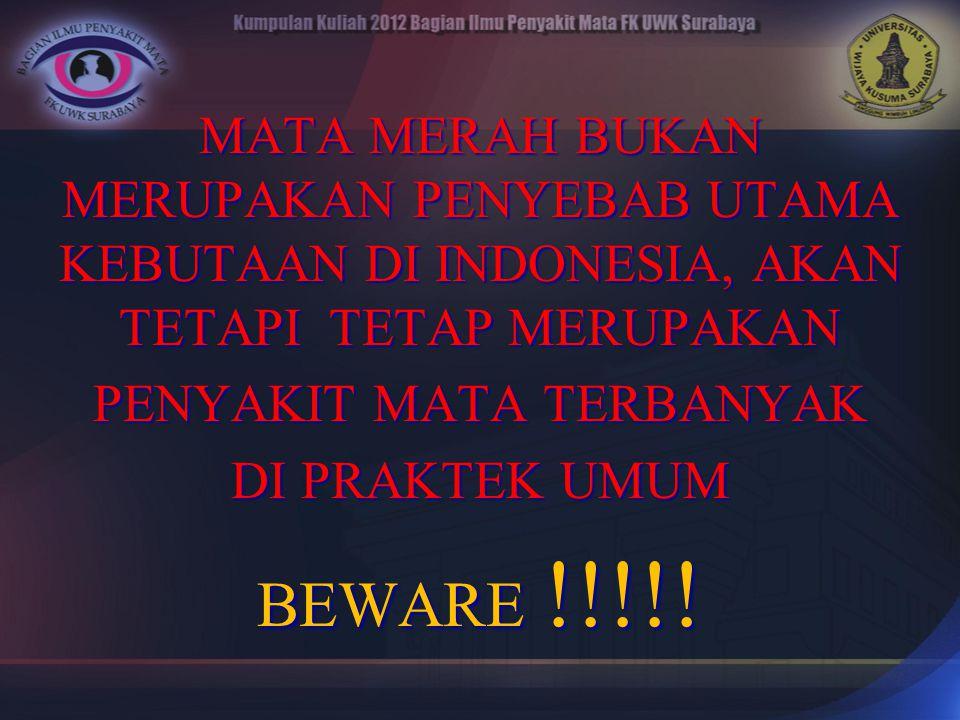 MATA MERAH BUKAN MERUPAKAN PENYEBAB UTAMA KEBUTAAN DI INDONESIA, AKAN TETAPI TETAP MERUPAKAN PENYAKIT MATA TERBANYAK DI PRAKTEK UMUM BEWARE !!!!!