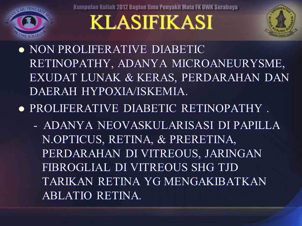 KLASIFIKASI NON PROLIFERATIVE DIABETIC RETINOPATHY, ADANYA MICROANEURYSME, EXUDAT LUNAK & KERAS, PERDARAHAN DAN DAERAH HYPOXIA/ISKEMIA. NON PROLIFERAT