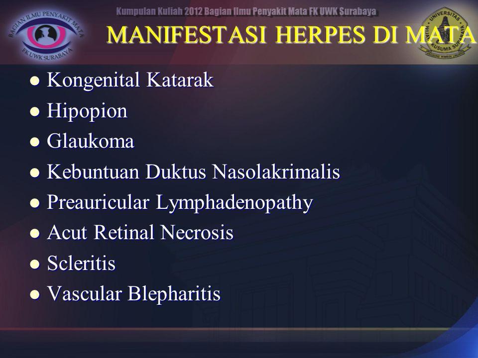 MANIFESTASI HERPES DI MATA Kongenital Katarak Kongenital Katarak Hipopion Hipopion Glaukoma Glaukoma Kebuntuan Duktus Nasolakrimalis Kebuntuan Duktus