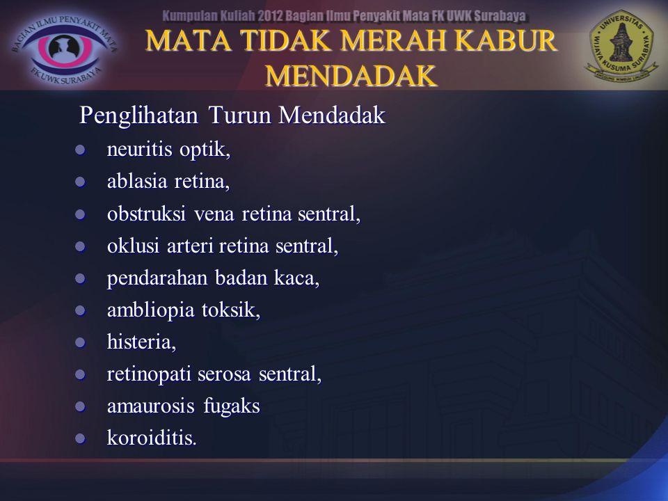 MATA TIDAK MERAH KABUR MENDADAK Penglihatan Turun Mendadak neuritis optik, neuritis optik, ablasia retina, ablasia retina, obstruksi vena retina sentr