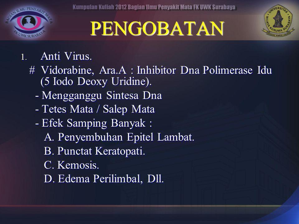 PENGOBATAN 1. Anti Virus. # Vidorabine, Ara.A : Inhibitor Dna Polimerase Idu (5 Iodo Deoxy Uridine). # Vidorabine, Ara.A : Inhibitor Dna Polimerase Id