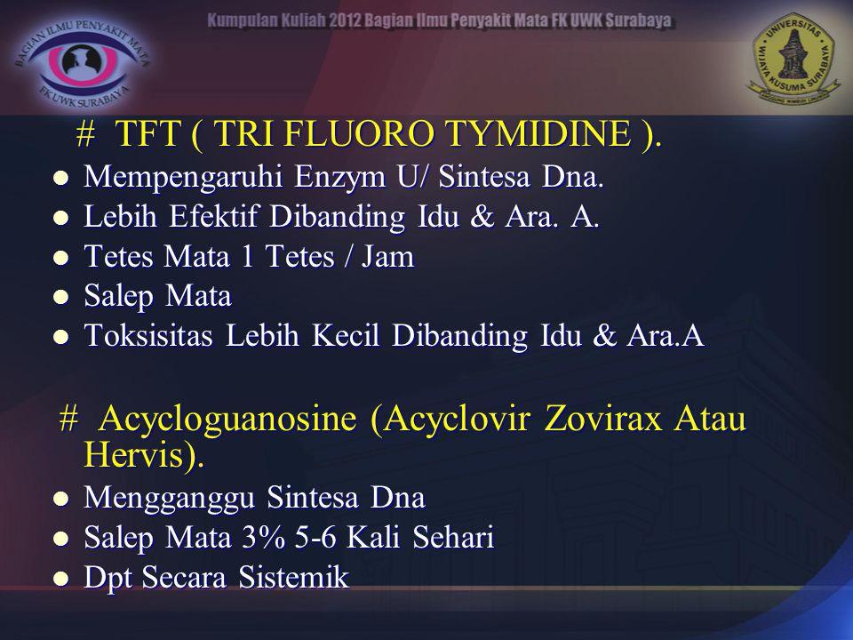 # TFT ( TRI FLUORO TYMIDINE ). # TFT ( TRI FLUORO TYMIDINE ). Mempengaruhi Enzym U/ Sintesa Dna. Mempengaruhi Enzym U/ Sintesa Dna. Lebih Efektif Diba