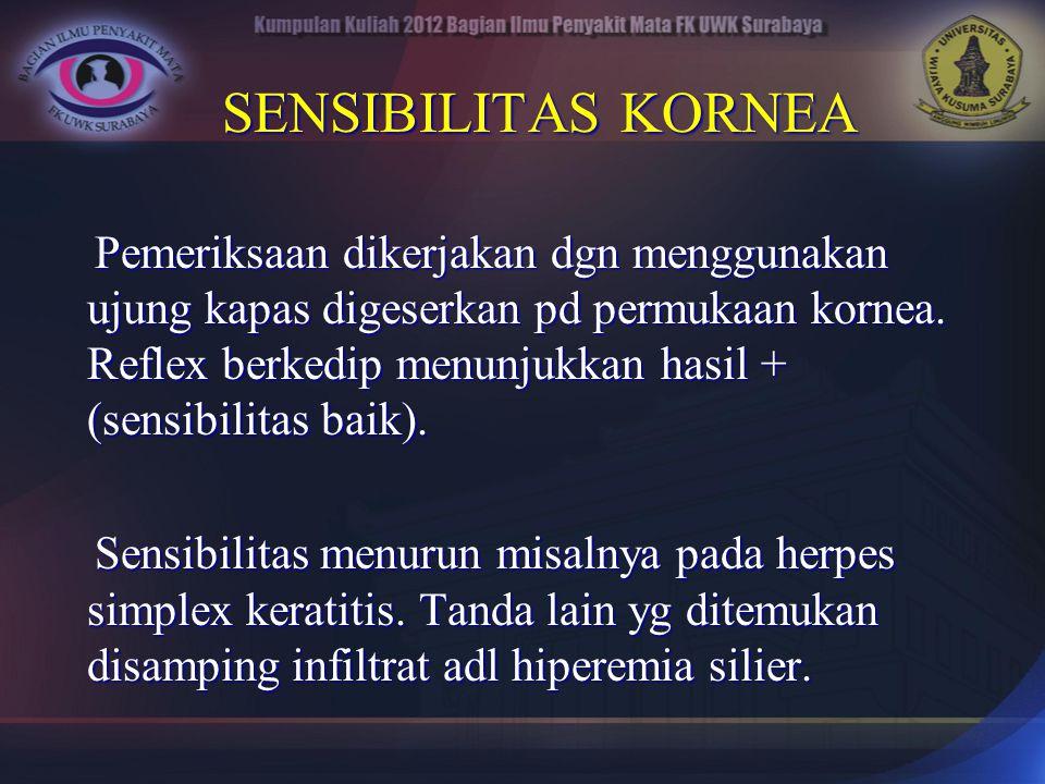 SENSIBILITAS KORNEA SENSIBILITAS KORNEA Pemeriksaan dikerjakan dgn menggunakan ujung kapas digeserkan pd permukaan kornea. Reflex berkedip menunjukkan
