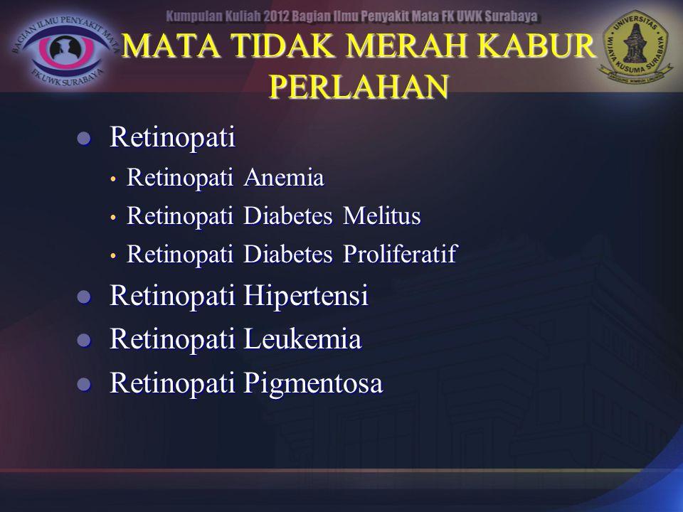 MATA TIDAK MERAH KABUR PERLAHAN Retinopati Retinopati Retinopati Anemia Retinopati Anemia Retinopati Diabetes Melitus Retinopati Diabetes Melitus Reti