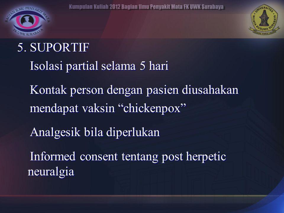 5. SUPORTIF Isolasi partial selama 5 hari Isolasi partial selama 5 hari Kontak person dengan pasien diusahakan Kontak person dengan pasien diusahakan