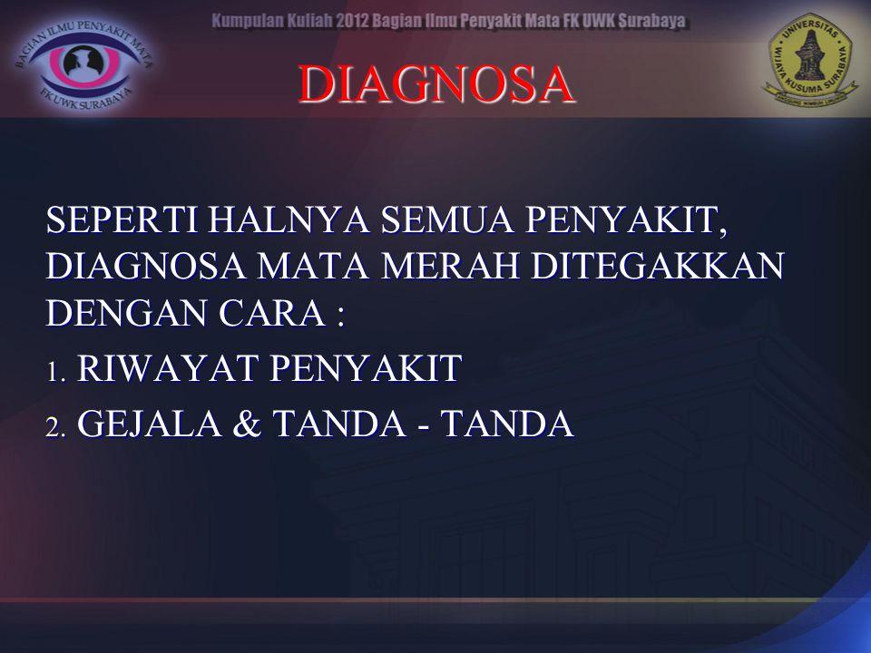 DIAGNOSA SEPERTI HALNYA SEMUA PENYAKIT, DIAGNOSA MATA MERAH DITEGAKKAN DENGAN CARA : 1. RIWAYAT PENYAKIT 2. GEJALA & TANDA - TANDA