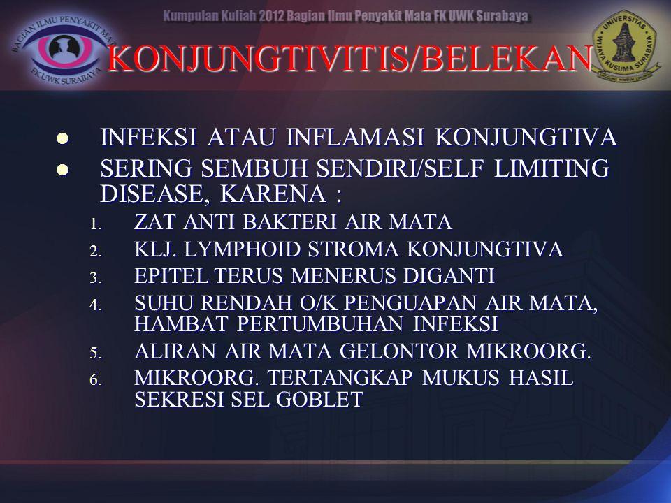 KONJUNGTIVITIS/BELEKAN INFEKSI ATAU INFLAMASI KONJUNGTIVA INFEKSI ATAU INFLAMASI KONJUNGTIVA SERING SEMBUH SENDIRI/SELF LIMITING DISEASE, KARENA : SER