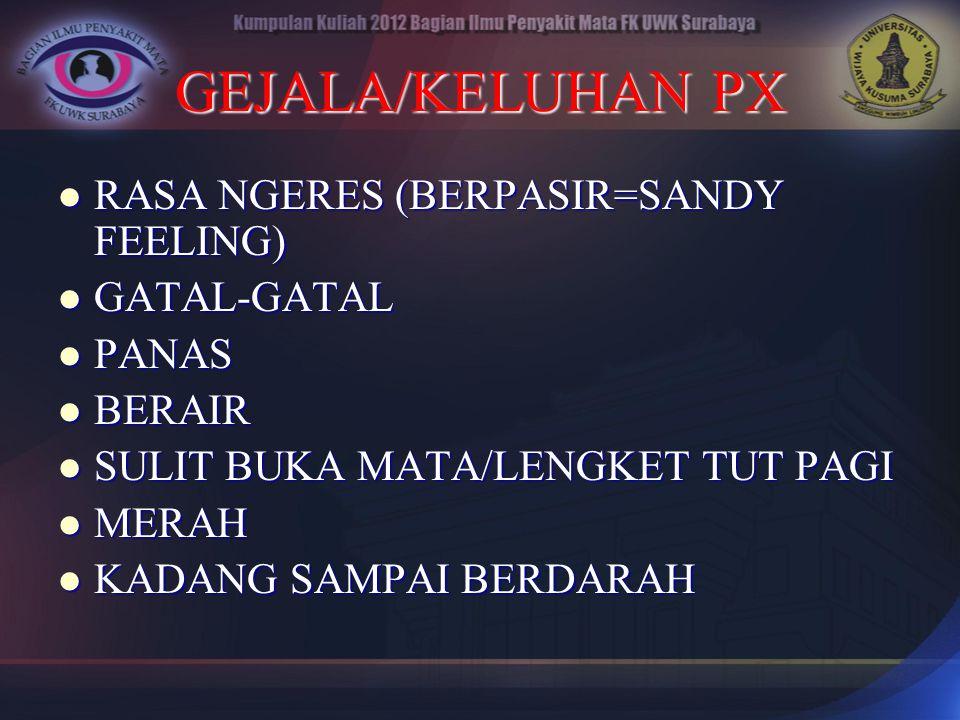 GEJALA/KELUHAN PX RASA NGERES (BERPASIR=SANDY FEELING) RASA NGERES (BERPASIR=SANDY FEELING) GATAL-GATAL GATAL-GATAL PANAS PANAS BERAIR BERAIR SULIT BU