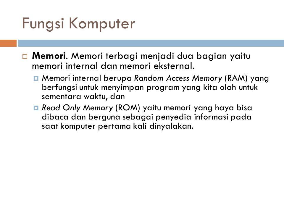 Fungsi Komputer  Memori. Memori terbagi menjadi dua bagian yaitu memori internal dan memori eksternal.  Memori internal berupa Random Access Memory