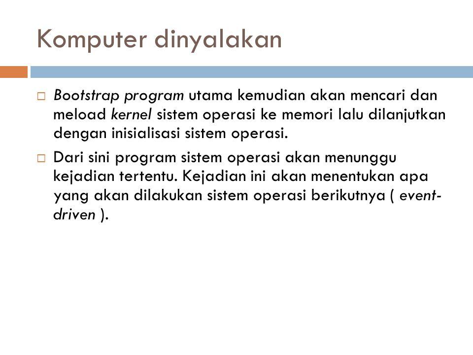 Komputer dinyalakan  Bootstrap program utama kemudian akan mencari dan meload kernel sistem operasi ke memori lalu dilanjutkan dengan inisialisasi si