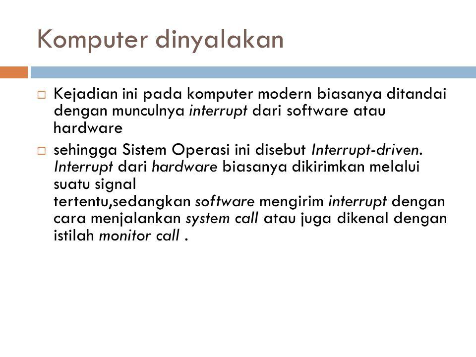 Komputer dinyalakan  Kejadian ini pada komputer modern biasanya ditandai dengan munculnya interrupt dari software atau hardware  sehingga Sistem Ope