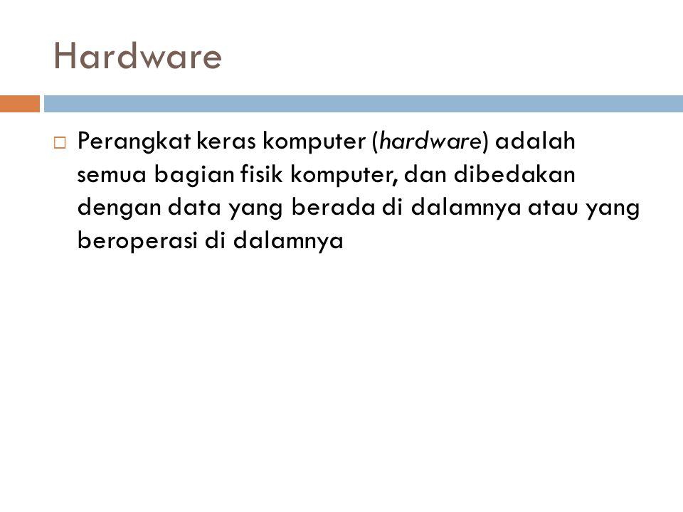Hardware  Perangkat keras komputer (hardware) adalah semua bagian fisik komputer, dan dibedakan dengan data yang berada di dalamnya atau yang beroper