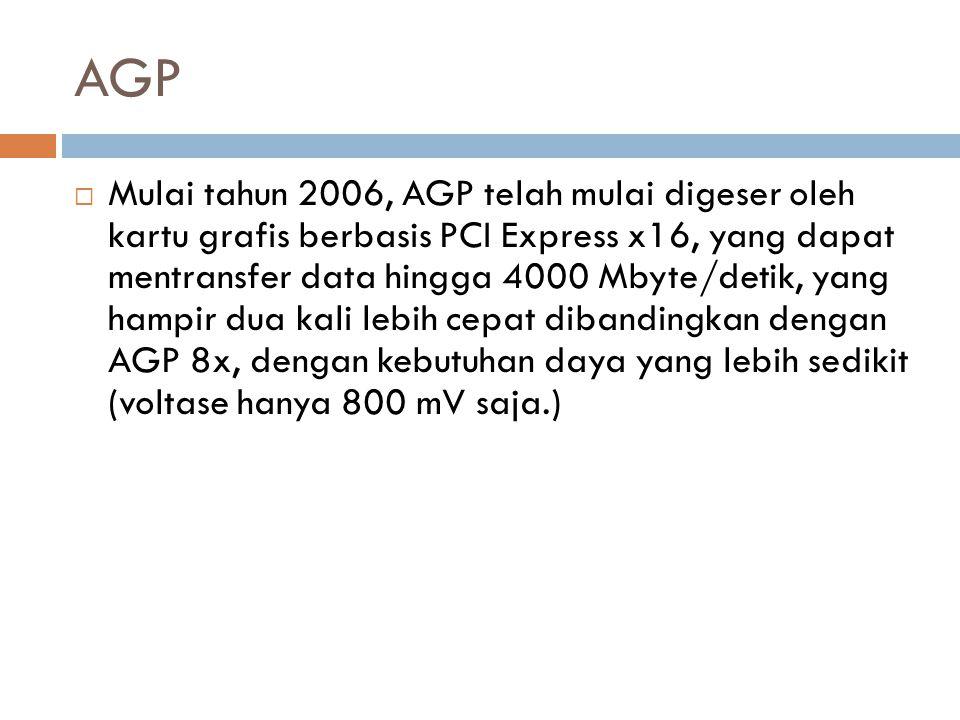 AGP  Mulai tahun 2006, AGP telah mulai digeser oleh kartu grafis berbasis PCI Express x16, yang dapat mentransfer data hingga 4000 Mbyte/detik, yang