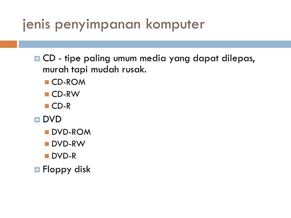 jenis penyimpanan komputer  CD - tipe paling umum media yang dapat dilepas, murah tapi mudah rusak. CD-ROM CD-RW CD-R  DVD DVD-ROM DVD-RW DVD-R  Fl