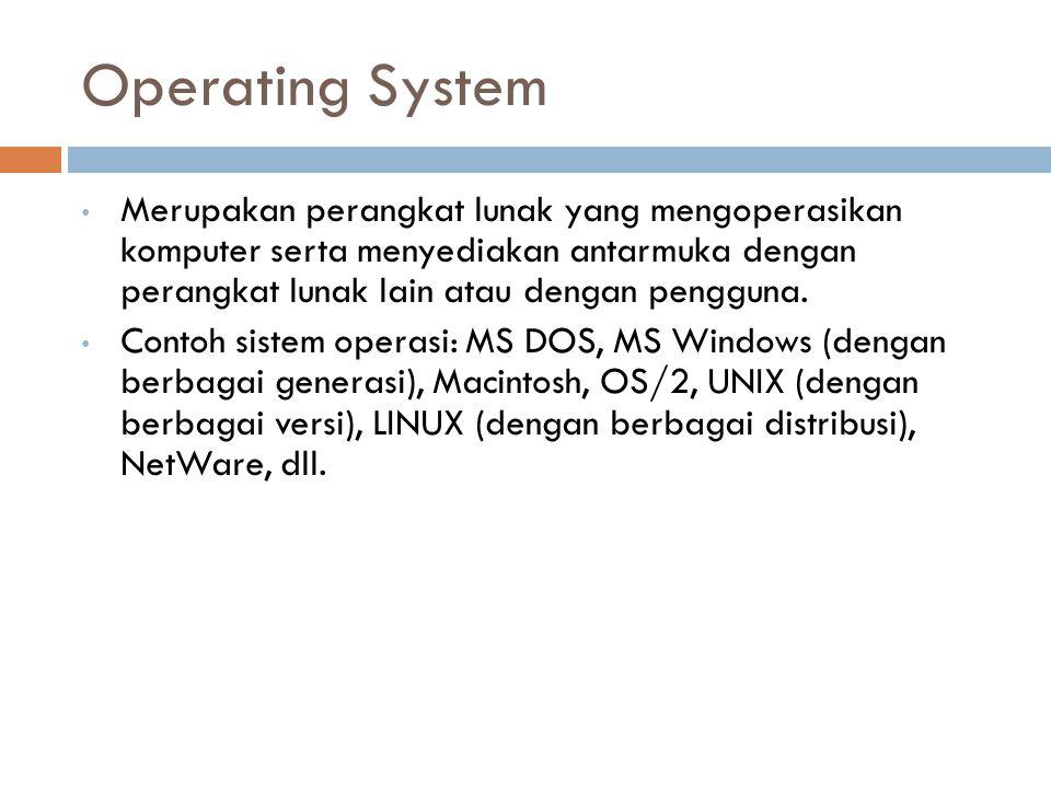 Operating System Merupakan perangkat lunak yang mengoperasikan komputer serta menyediakan antarmuka dengan perangkat lunak lain atau dengan pengguna.