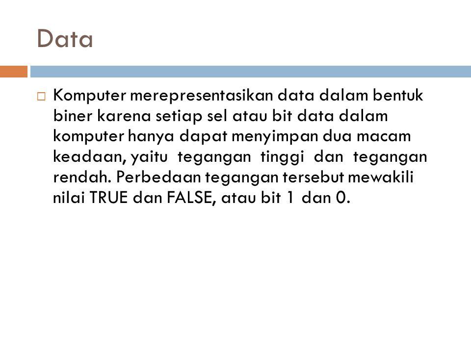 Data  Komputer merepresentasikan data dalam bentuk biner karena setiap sel atau bit data dalam komputer hanya dapat menyimpan dua macam keadaan, yait
