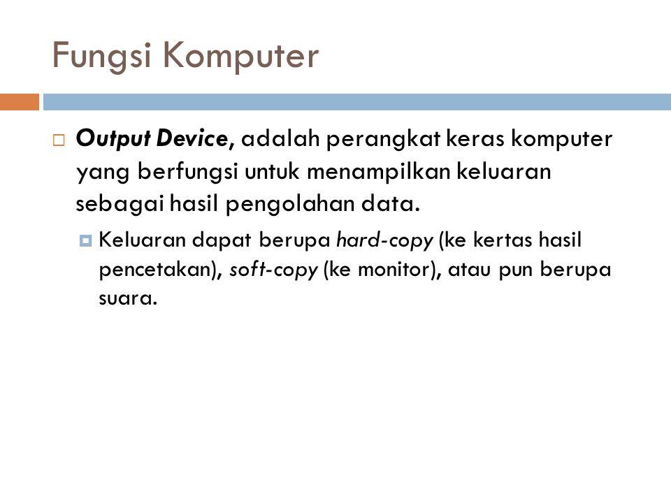 Fungsi Komputer  Output Device, adalah perangkat keras komputer yang berfungsi untuk menampilkan keluaran sebagai hasil pengolahan data.  Keluaran d