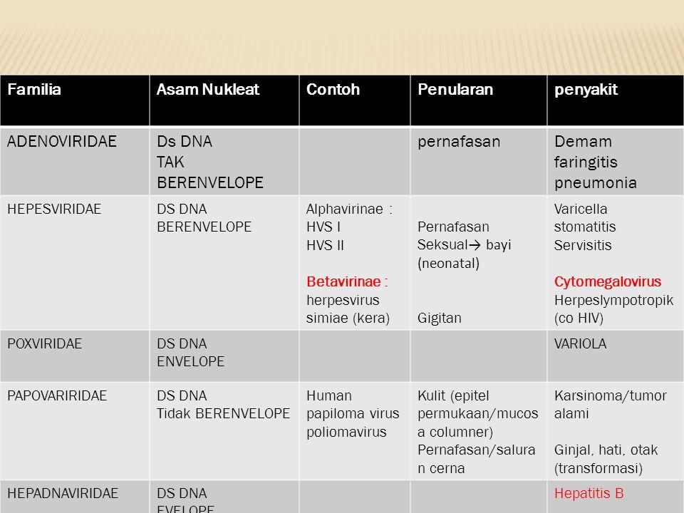 FamiliaAsam NukleatContohPenularanpenyakit ADENOVIRIDAEDs DNA TAK BERENVELOPE pernafasanDemam faringitis pneumonia HEPESVIRIDAEDS DNA BERENVELOPE Alph