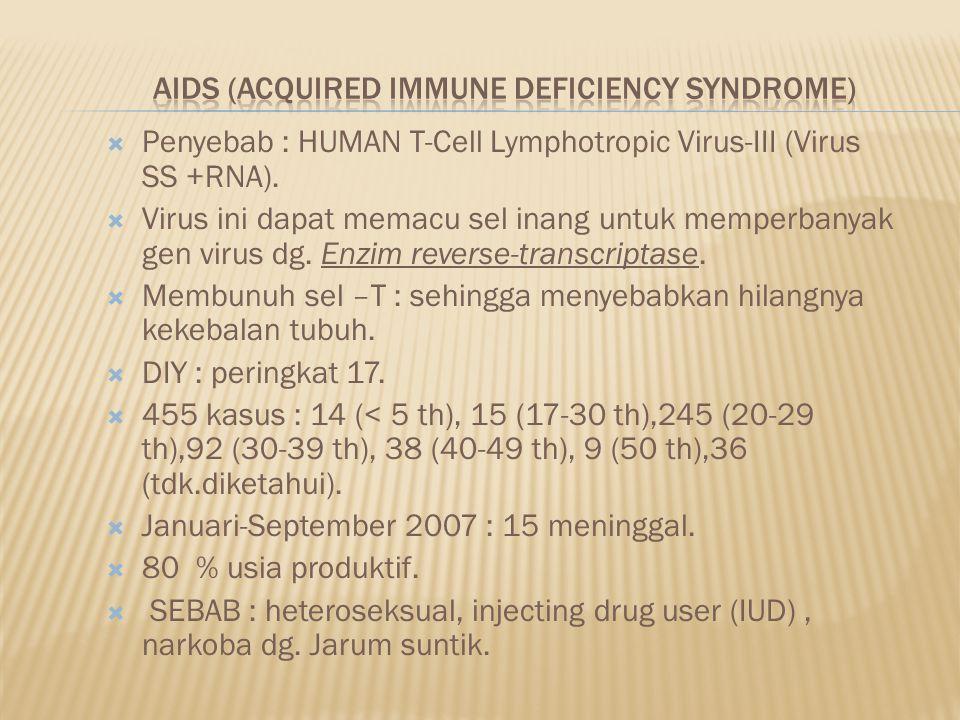  Penyebab : HUMAN T-Cell Lymphotropic Virus-III (Virus SS +RNA).  Virus ini dapat memacu sel inang untuk memperbanyak gen virus dg. Enzim reverse-tr