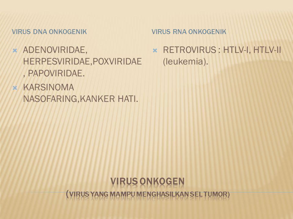 VIRUS DNA ONKOGENIKVIRUS RNA ONKOGENIK  ADENOVIRIDAE, HERPESVIRIDAE,POXVIRIDAE, PAPOVIRIDAE.  KARSINOMA NASOFARING,KANKER HATI.  RETROVIRUS : HTLV-