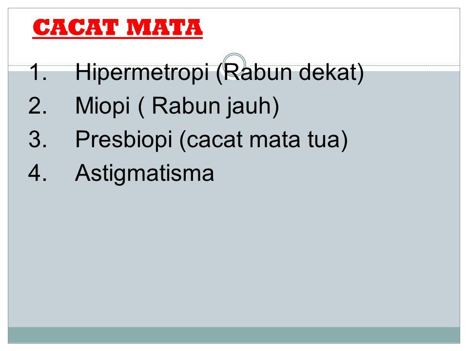 CACAT MATA 1.Hipermetropi (Rabun dekat) 2.Miopi ( Rabun jauh) 3.Presbiopi (cacat mata tua) 4.Astigmatisma Mata Normal Orang yang memiliki mata normal