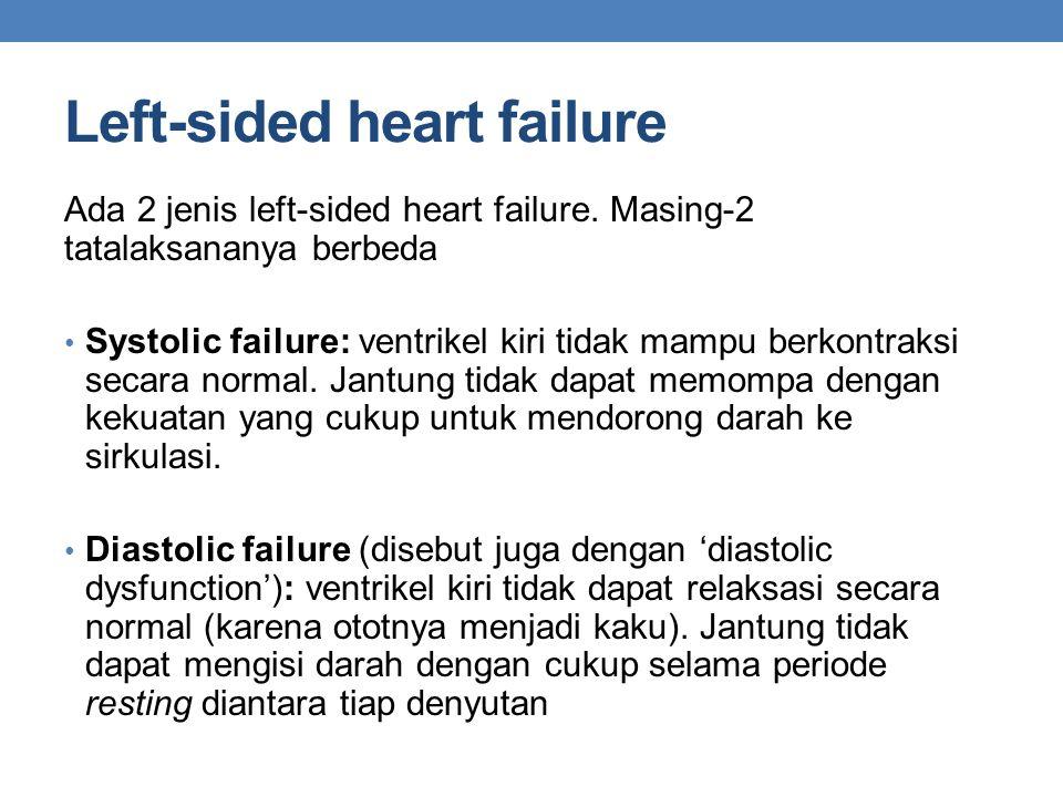 Left-sided heart failure Ada 2 jenis left-sided heart failure. Masing-2 tatalaksananya berbeda Systolic failure: ventrikel kiri tidak mampu berkontrak