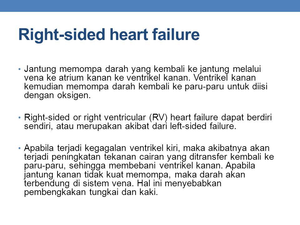 Right-sided heart failure Jantung memompa darah yang kembali ke jantung melalui vena ke atrium kanan ke ventrikel kanan.