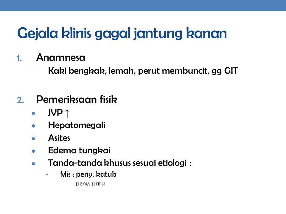 Gejala klinis gagal jantung kanan 1. Anamnesa – Kaki bengkak, lemah, perut membuncit, gg GIT 2. Pemeriksaan fisik JVP ↑ Hepatomegali Asites Edema tung