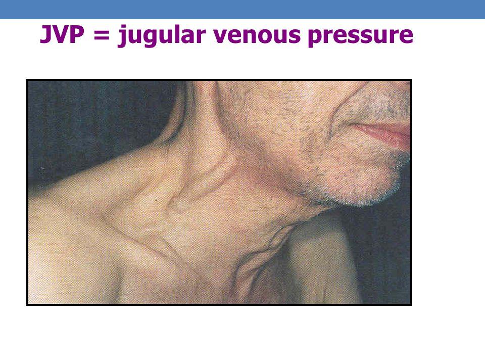 JVP = jugular venous pressure