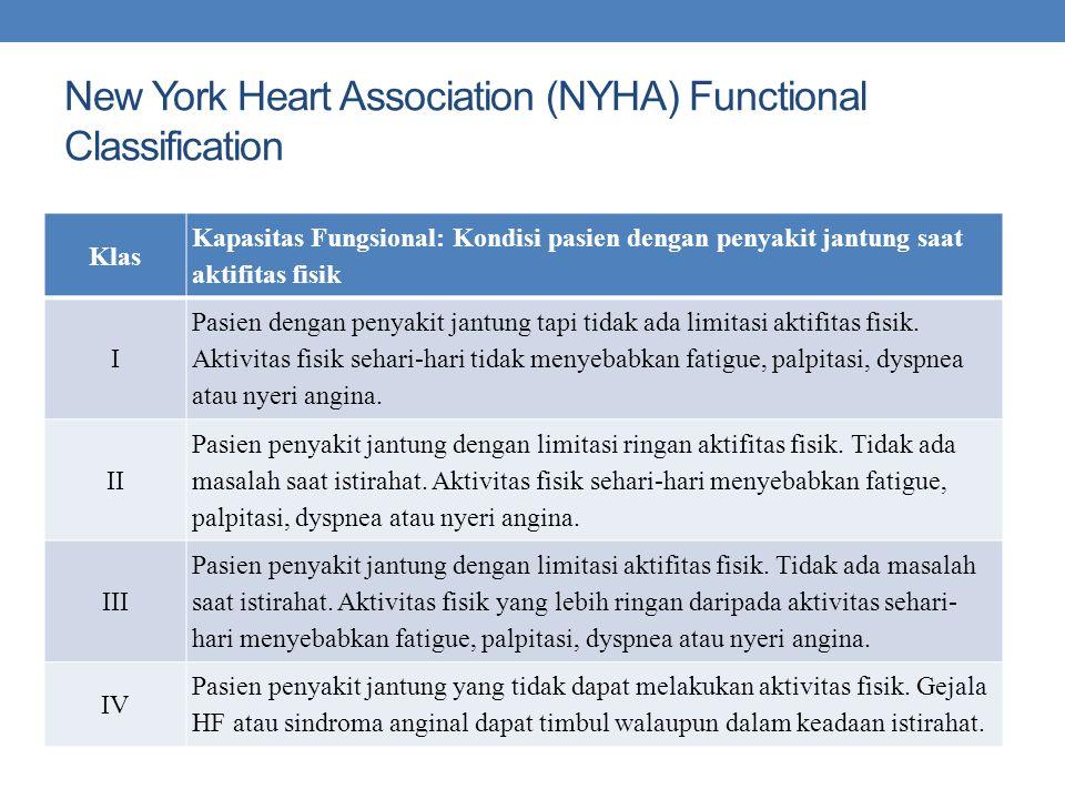 New York Heart Association (NYHA) Functional Classification Klas Kapasitas Fungsional: Kondisi pasien dengan penyakit jantung saat aktifitas fisik I Pasien dengan penyakit jantung tapi tidak ada limitasi aktifitas fisik.