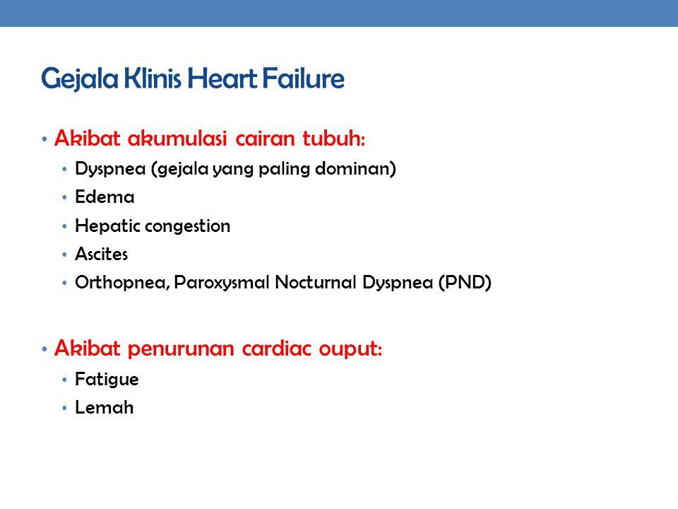 Gejala Klinis Heart Failure Akibat akumulasi cairan tubuh: Dyspnea (gejala yang paling dominan) Edema Hepatic congestion Ascites Orthopnea, Paroxysmal Nocturnal Dyspnea (PND) Akibat penurunan cardiac ouput: Fatigue Lemah