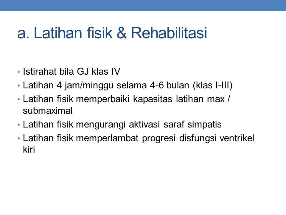 a. Latihan fisik & Rehabilitasi Istirahat bila GJ klas IV Latihan 4 jam/minggu selama 4-6 bulan (klas I-III) Latihan fisik memperbaiki kapasitas latih